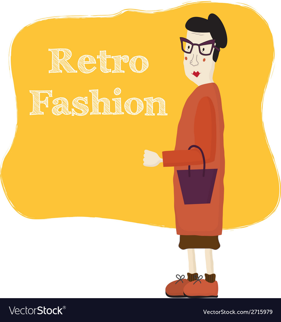 Old cartoon woman wearing fashion glasses vector | Price: 1 Credit (USD $1)