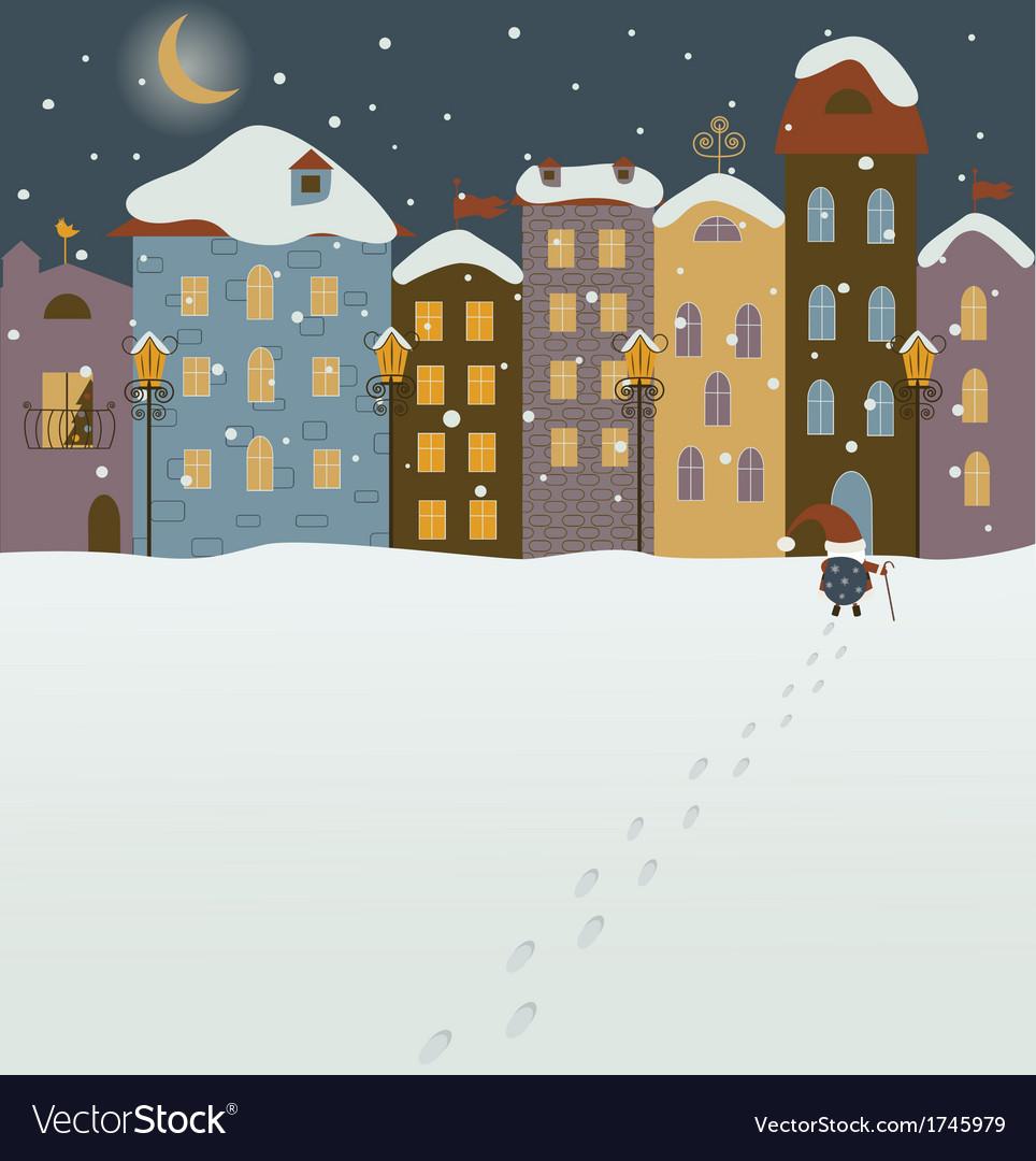 Santa coming to christmas town vector   Price: 1 Credit (USD $1)