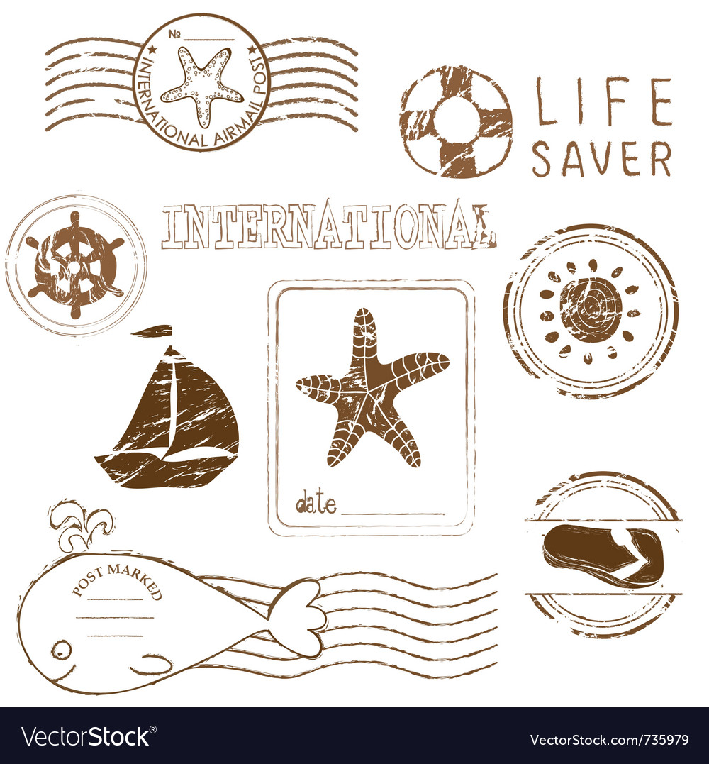 Sea elements - rubber stamp collection vector | Price: 1 Credit (USD $1)