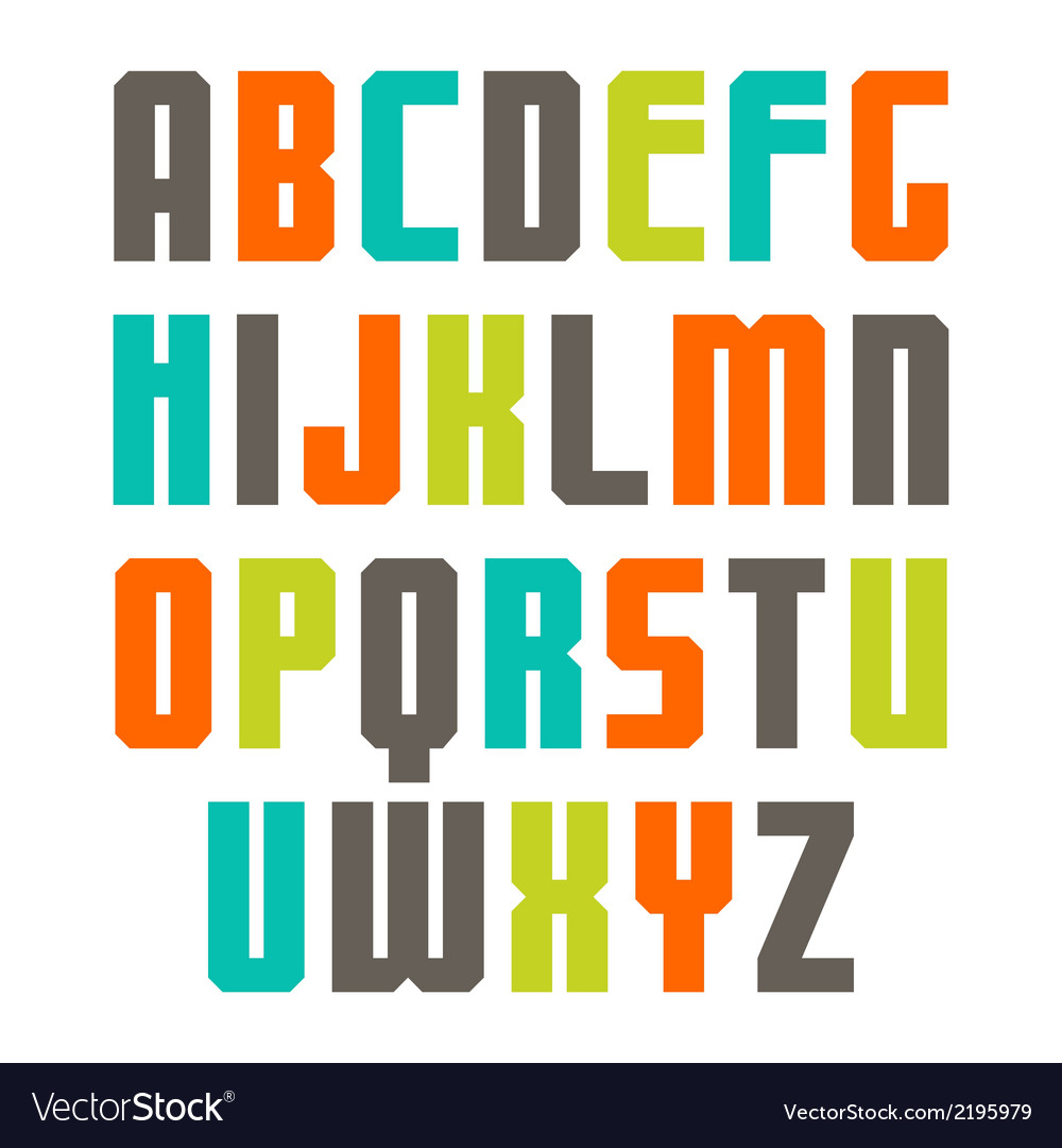 Varicolored sans serif font vector | Price: 1 Credit (USD $1)
