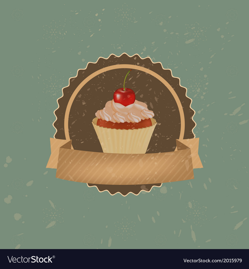 Vintage cupcake with cherry and ribbon vector | Price: 1 Credit (USD $1)