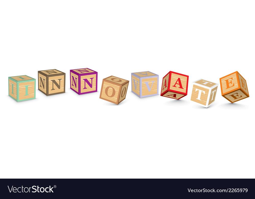 Word innovate written with alphabet blocks vector | Price: 1 Credit (USD $1)