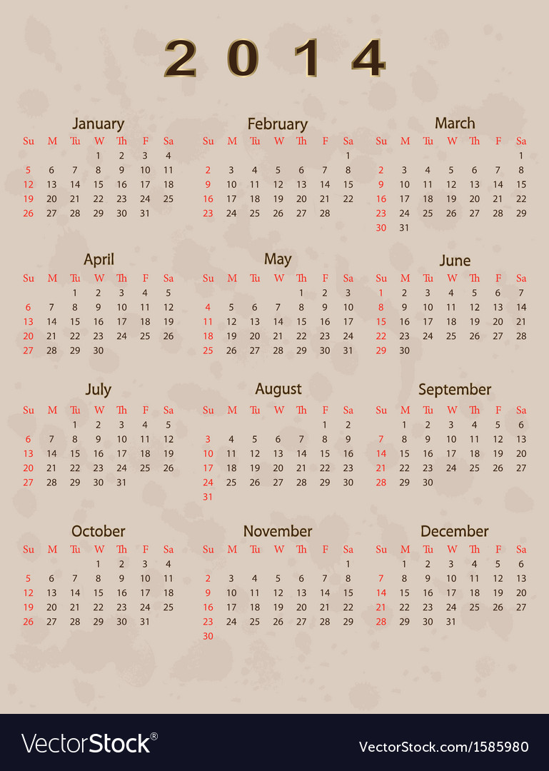 2014 calendar year in vintage style vector | Price: 1 Credit (USD $1)