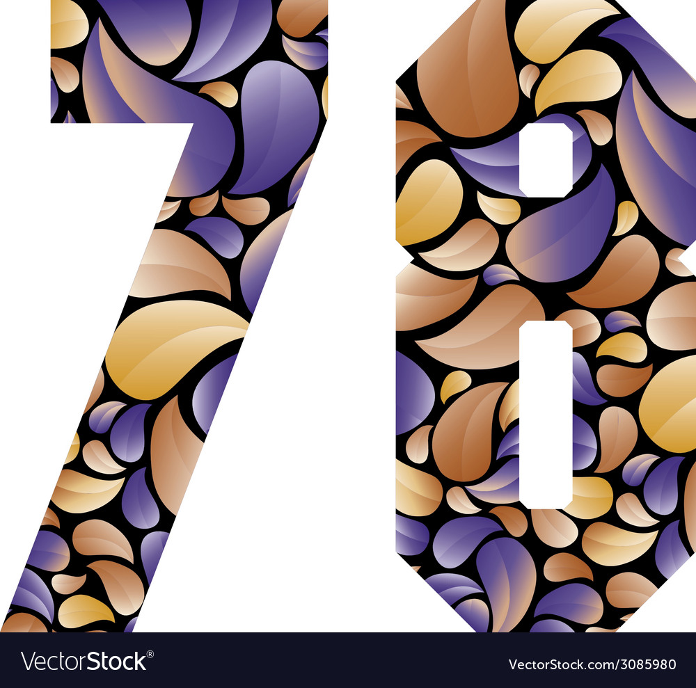 Beautiful floral numbers 7 and 8 vector | Price: 1 Credit (USD $1)