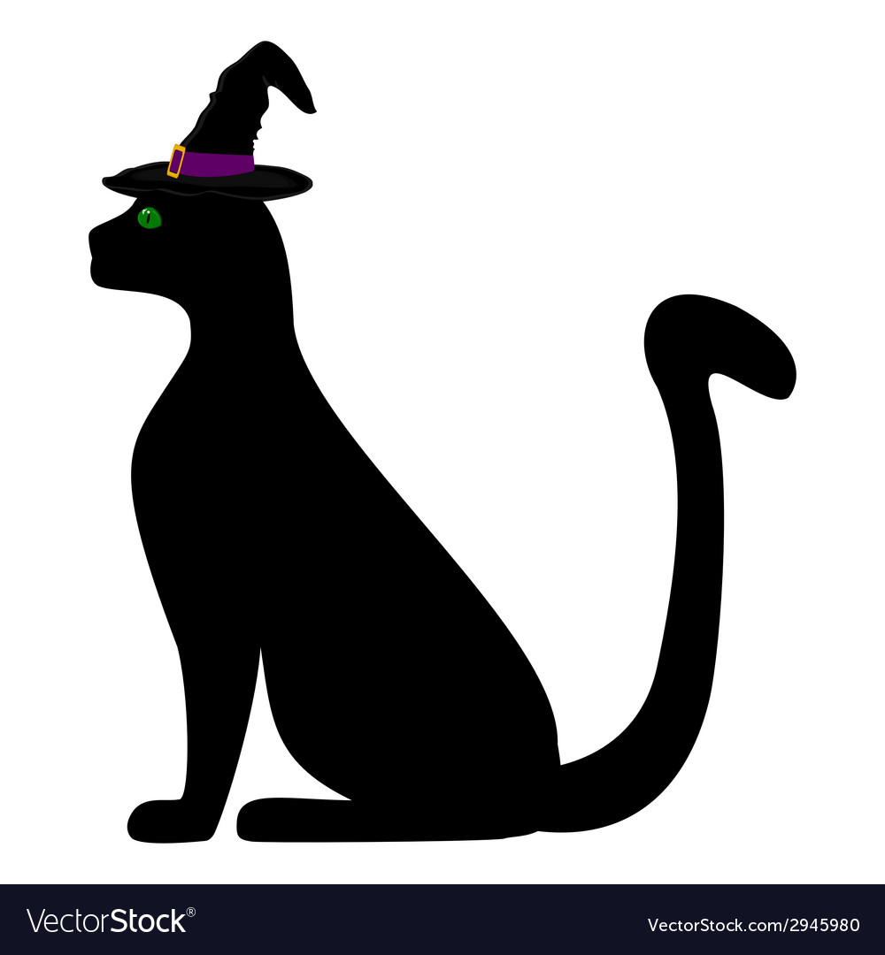 Black cat in the hat for halloween vector | Price: 1 Credit (USD $1)