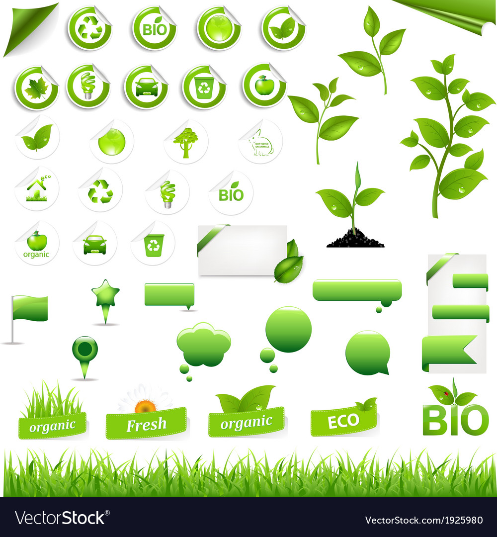 Collection of eco elements vector | Price: 1 Credit (USD $1)