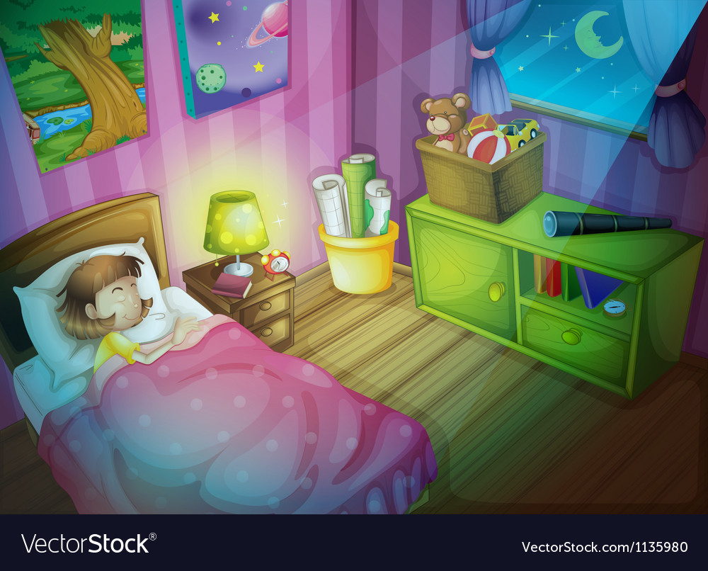 Girl sleepin in bedroom at night vector | Price: 1 Credit (USD $1)