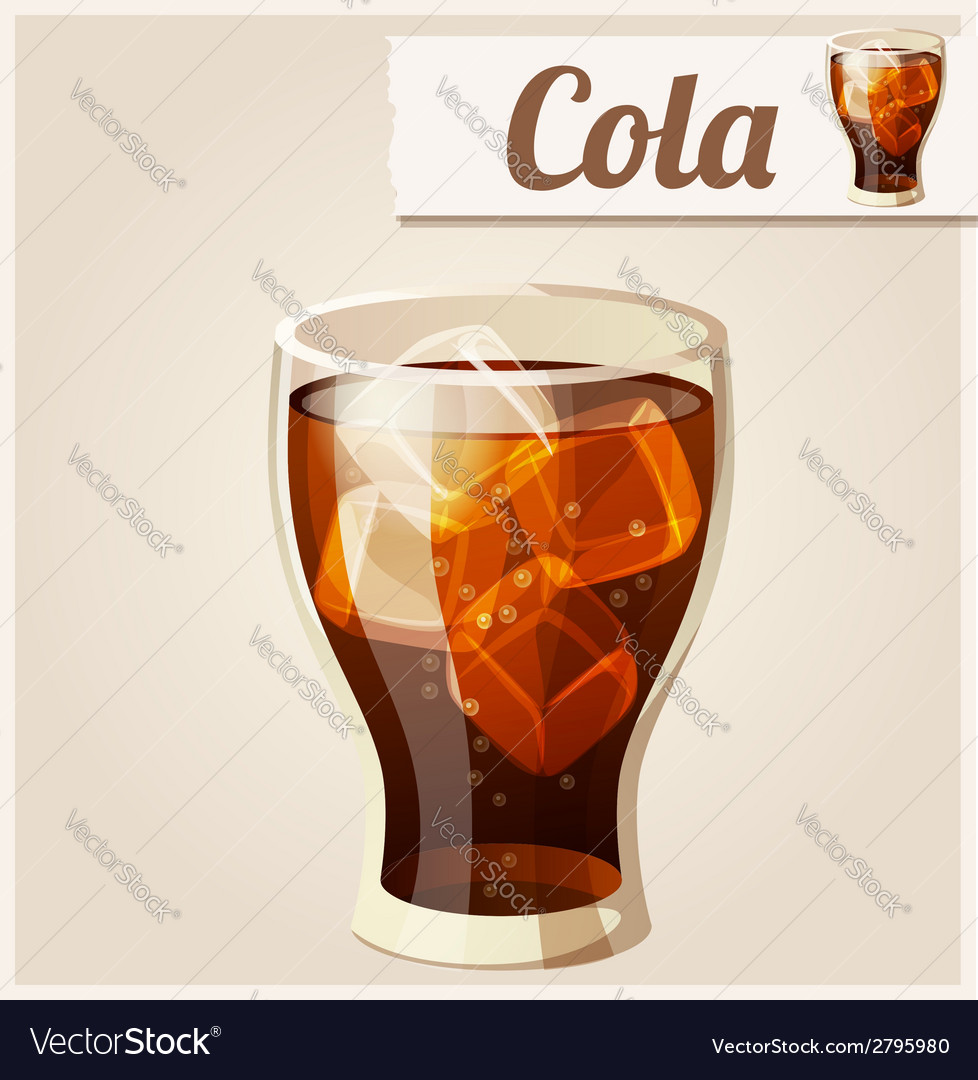 Glass of cola with ice detailed icon vector | Price: 3 Credit (USD $3)