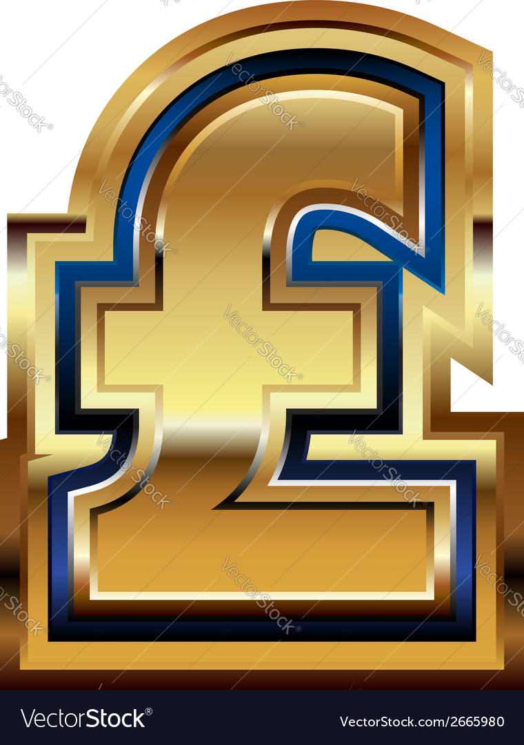 Golden pound symbol vector | Price: 1 Credit (USD $1)