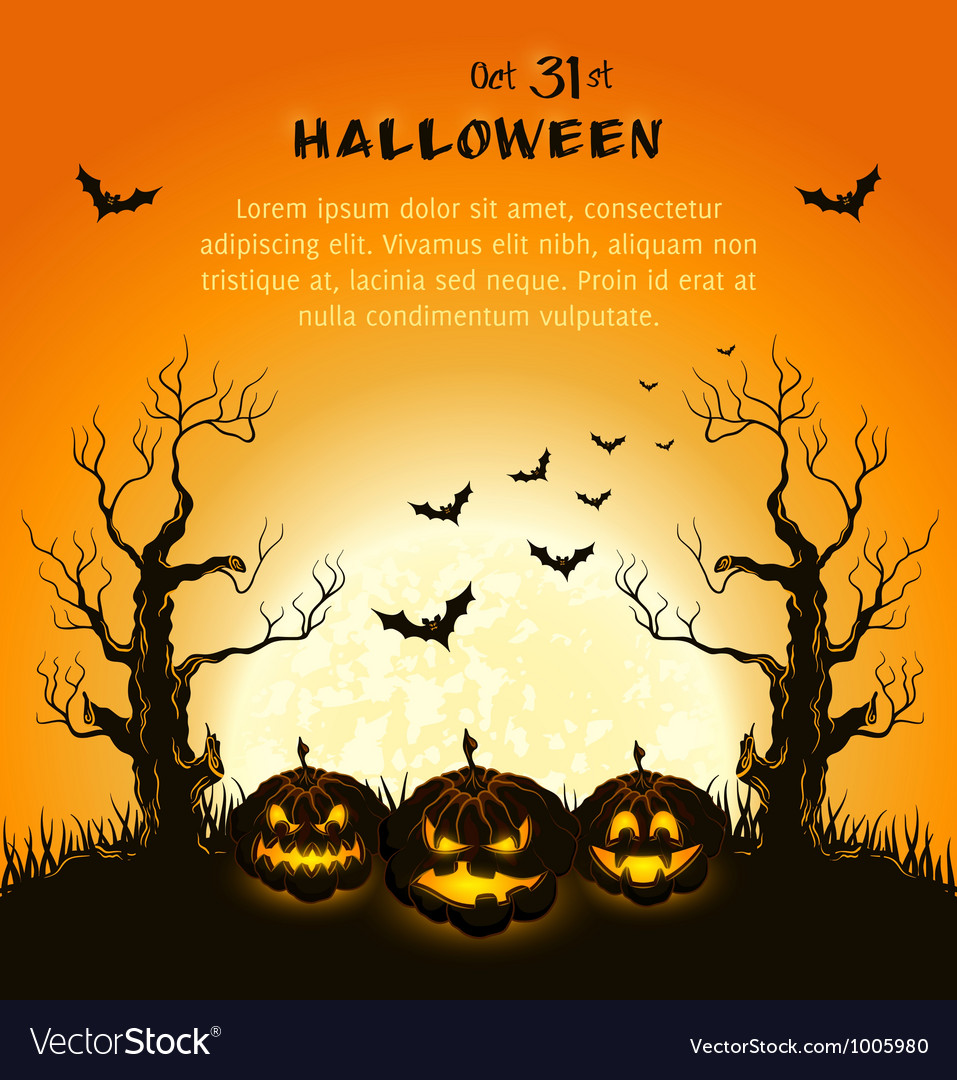 Oran halloween background with pumpkins full moon vector | Price: 1 Credit (USD $1)