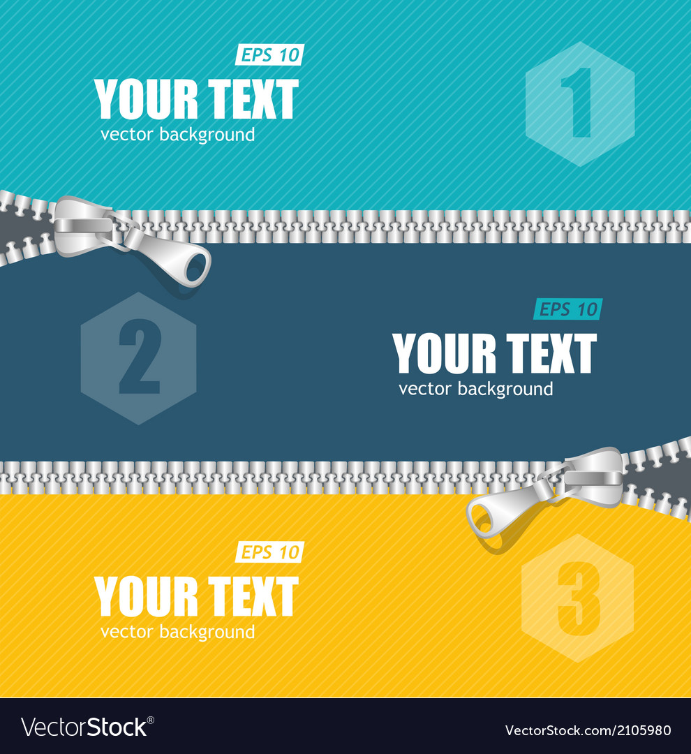 Realistic zippers banner 1 2 3 concept vector   Price: 1 Credit (USD $1)