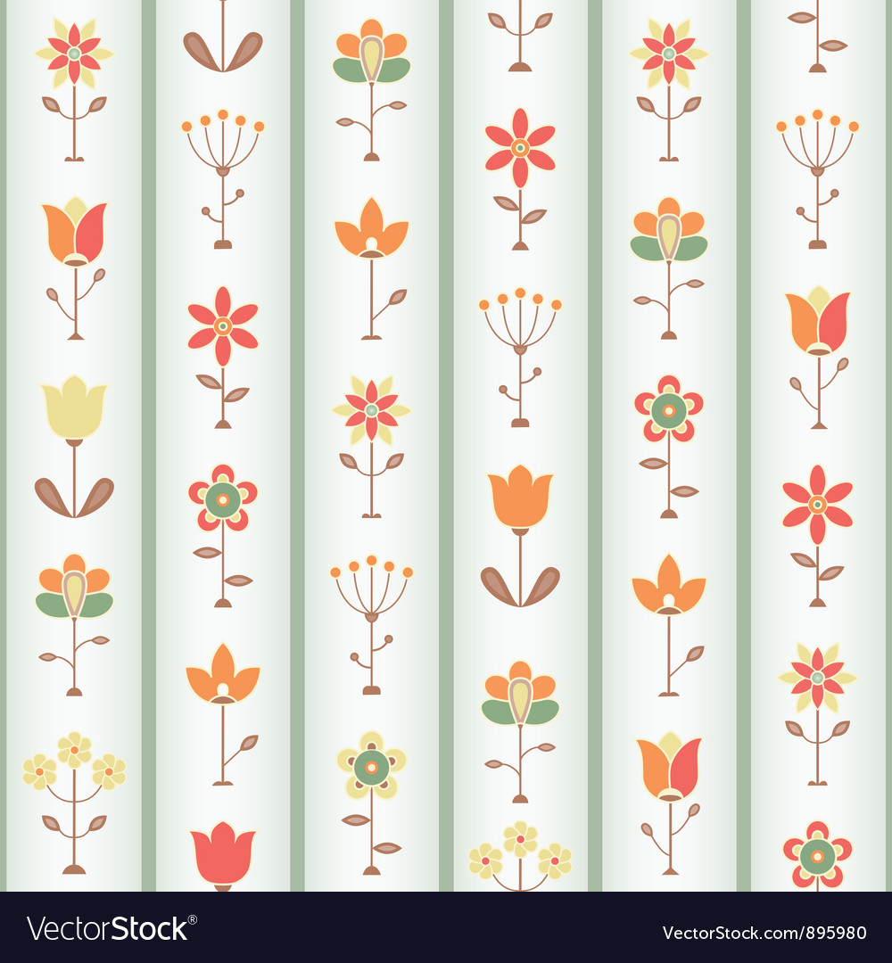 Retro flower seamless vector | Price: 1 Credit (USD $1)