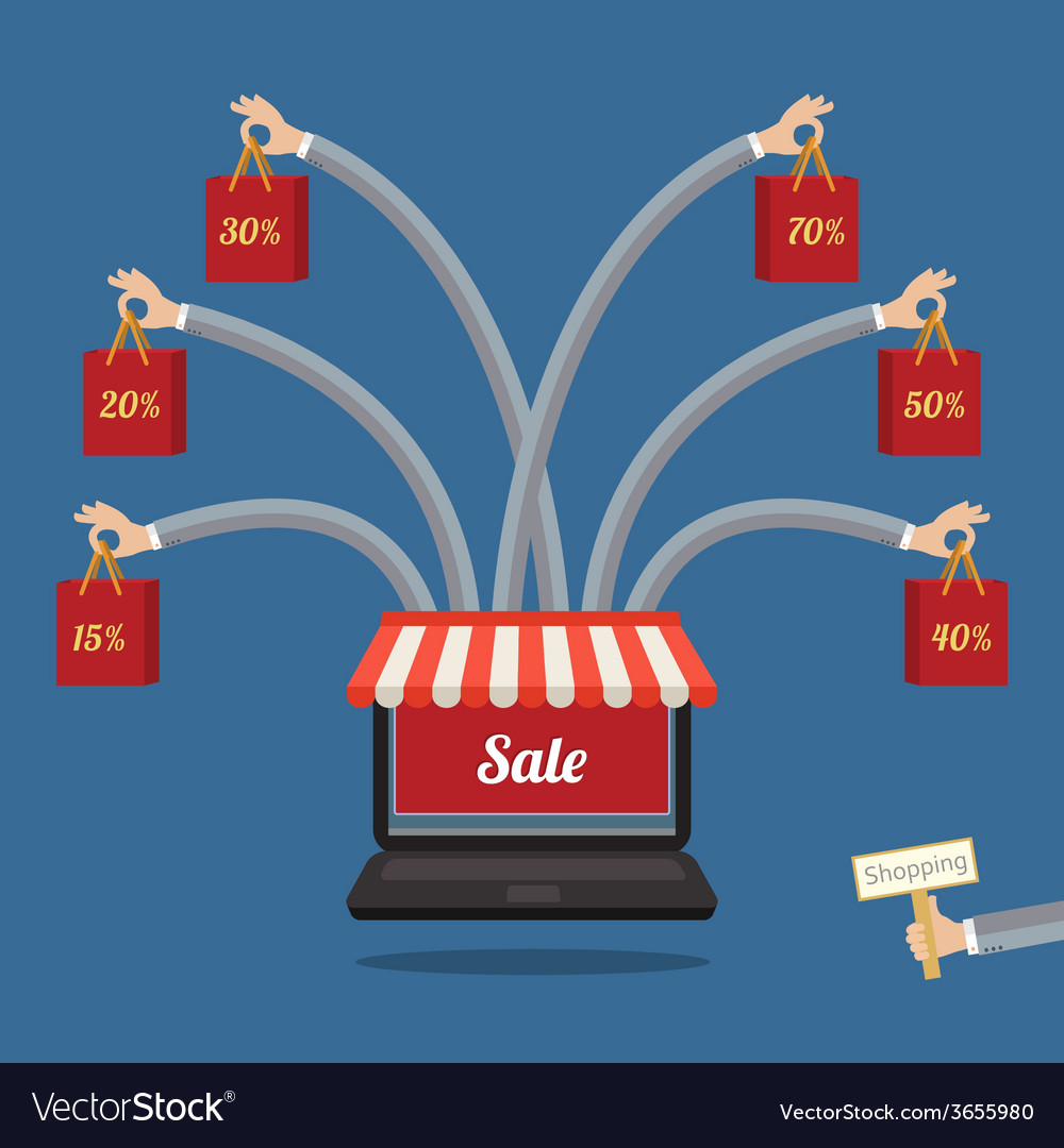 Sale many-armed laptop on blue vector   Price: 1 Credit (USD $1)