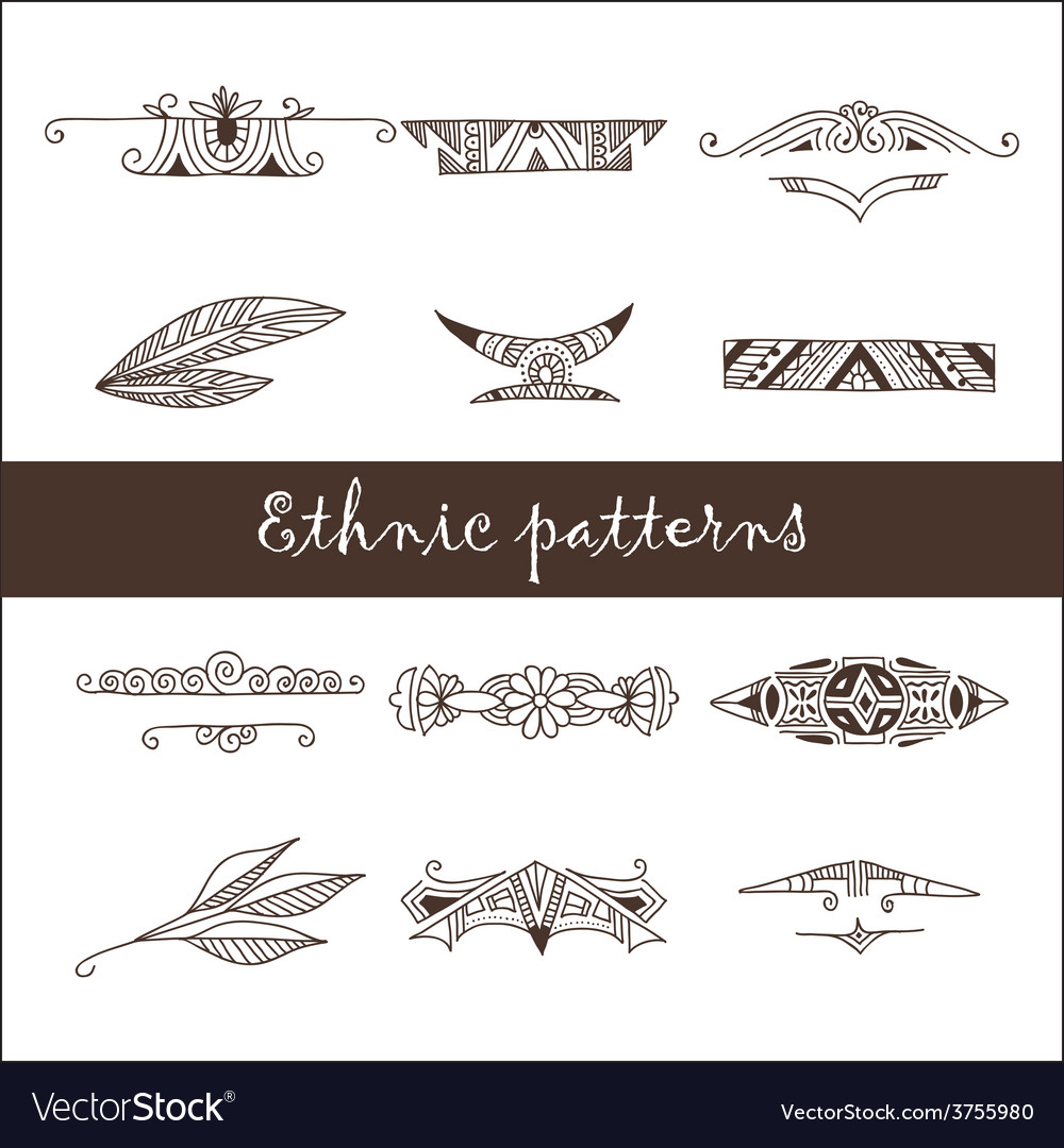 Set of different ethnic doodle patterns vector | Price: 1 Credit (USD $1)