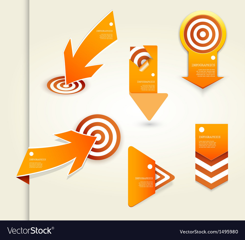 Set of orange labels for wide variety of use vector | Price: 1 Credit (USD $1)