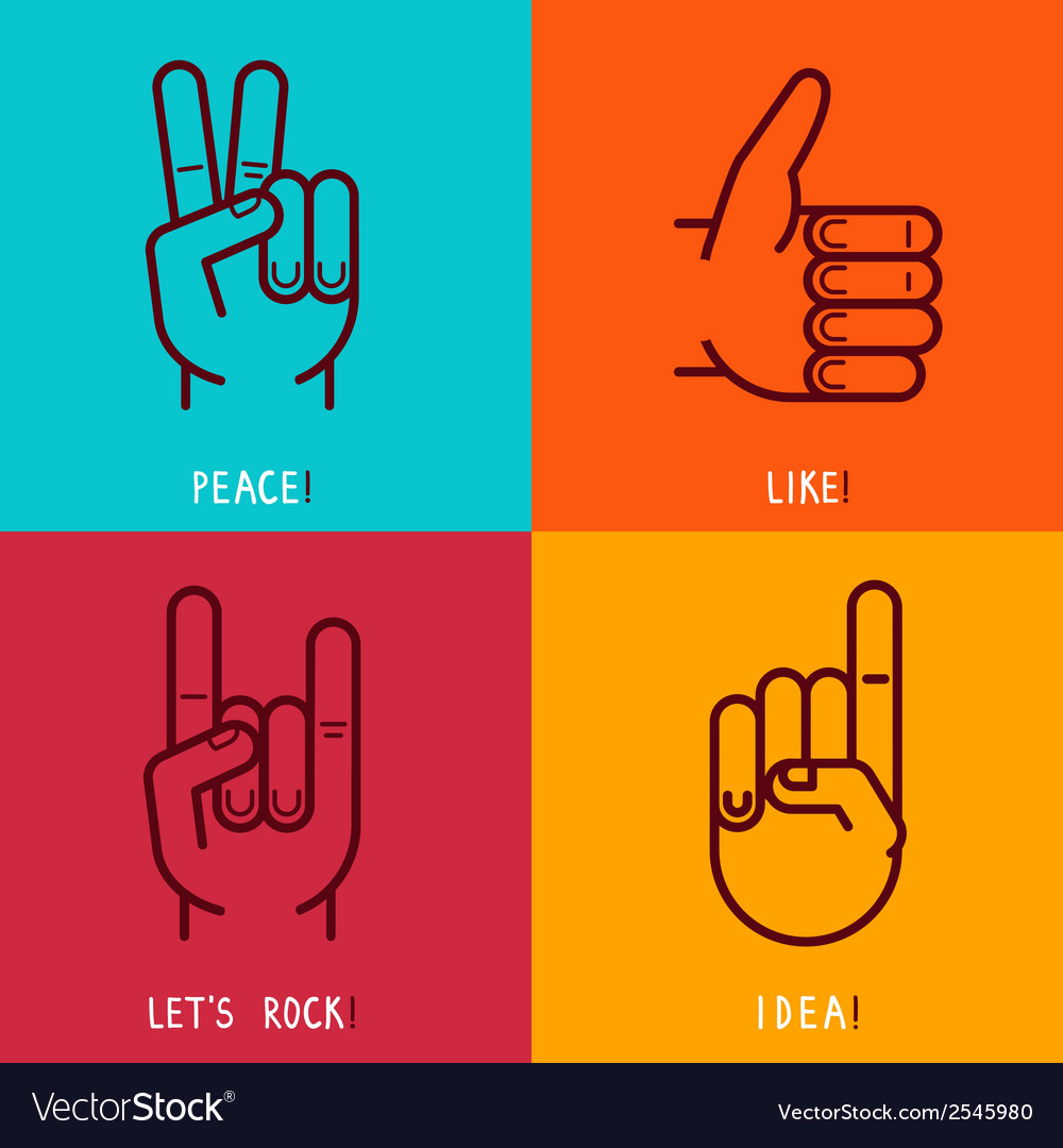Set of outline icons - gestures and signs vector | Price: 1 Credit (USD $1)