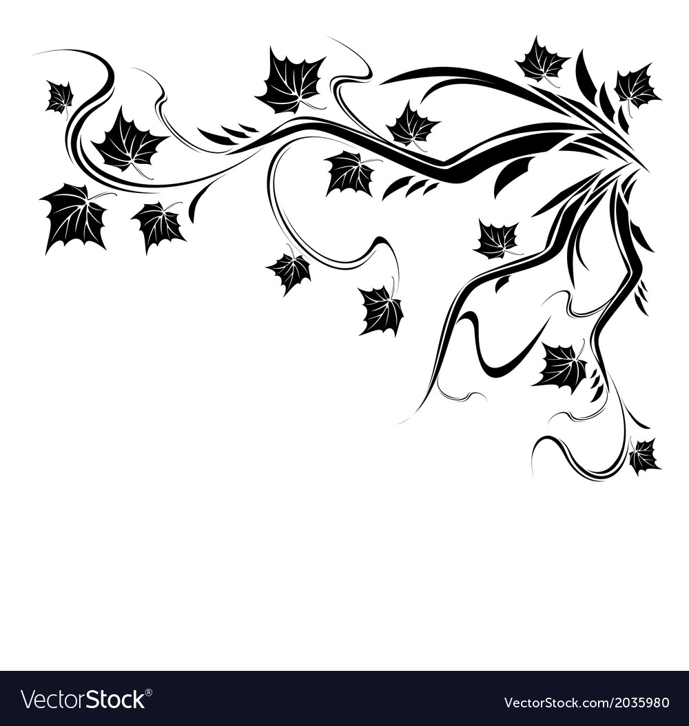 Stylized black tree with leaves vector | Price: 1 Credit (USD $1)
