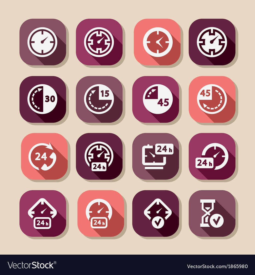 Time long shadows icons vector | Price: 1 Credit (USD $1)