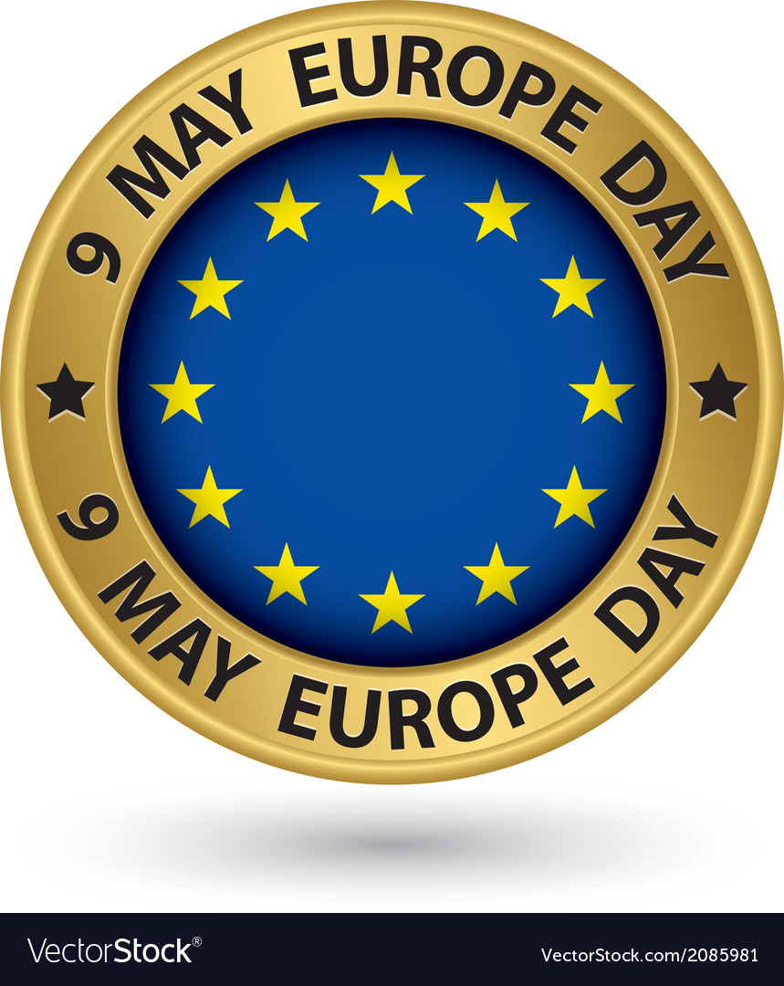 9 may europe day gold label vector | Price: 1 Credit (USD $1)