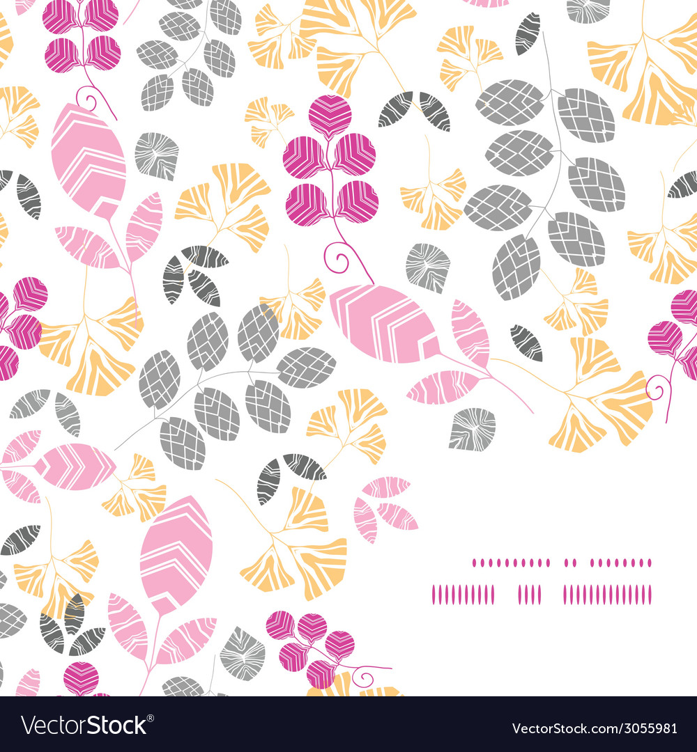 Abstract pink yellow and gray leaves frame corner vector | Price: 1 Credit (USD $1)