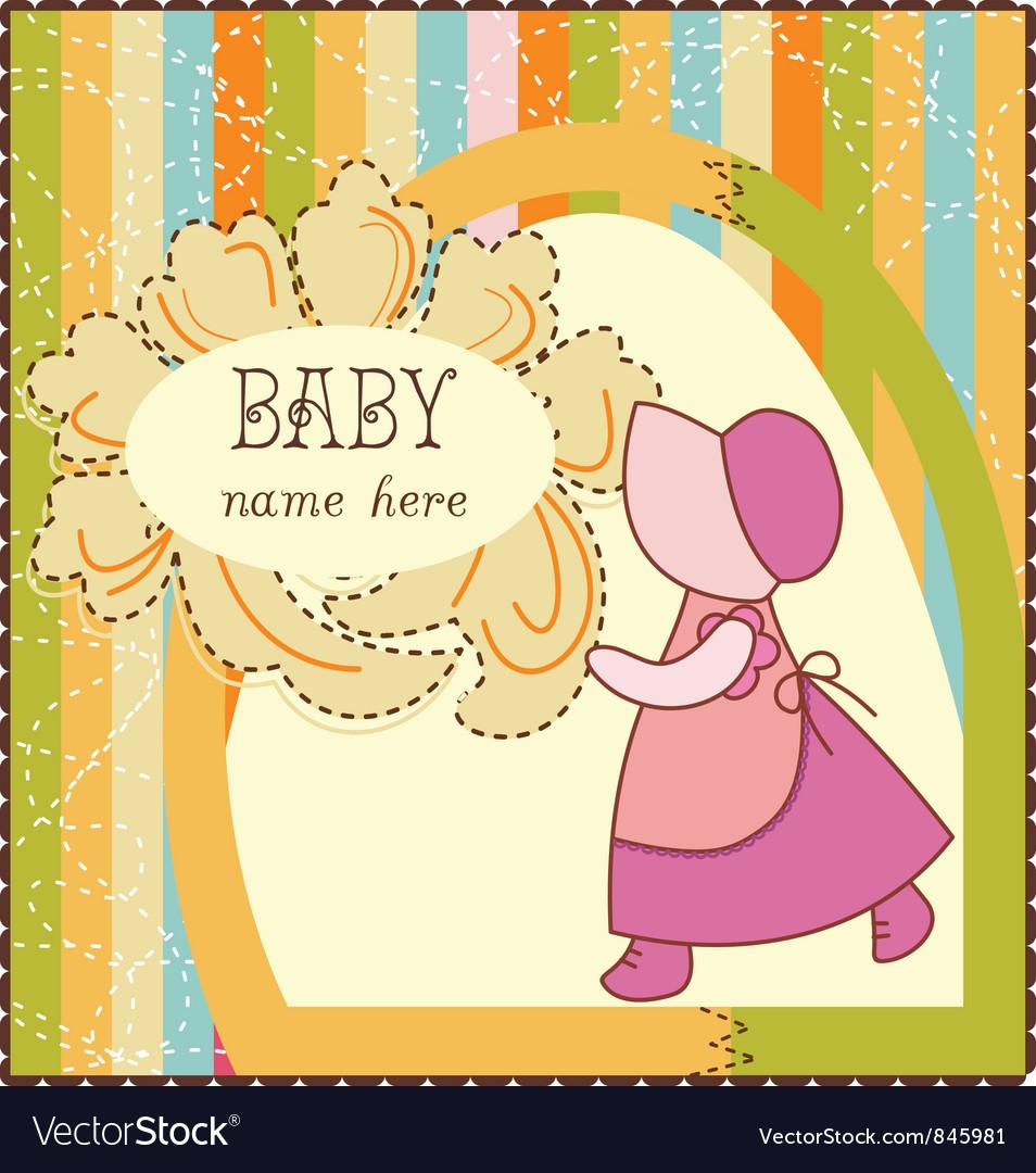 Baby girl invitation card vector | Price: 1 Credit (USD $1)