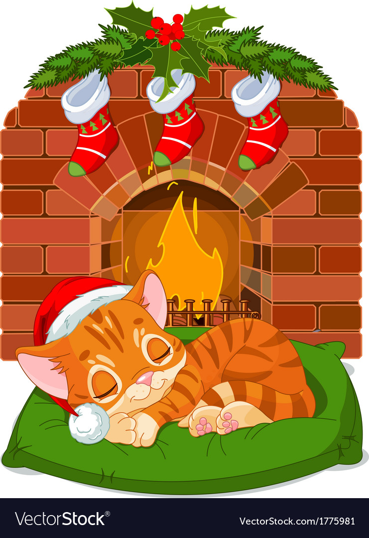Christmas kitten sleeping near fireplace vector | Price: 3 Credit (USD $3)