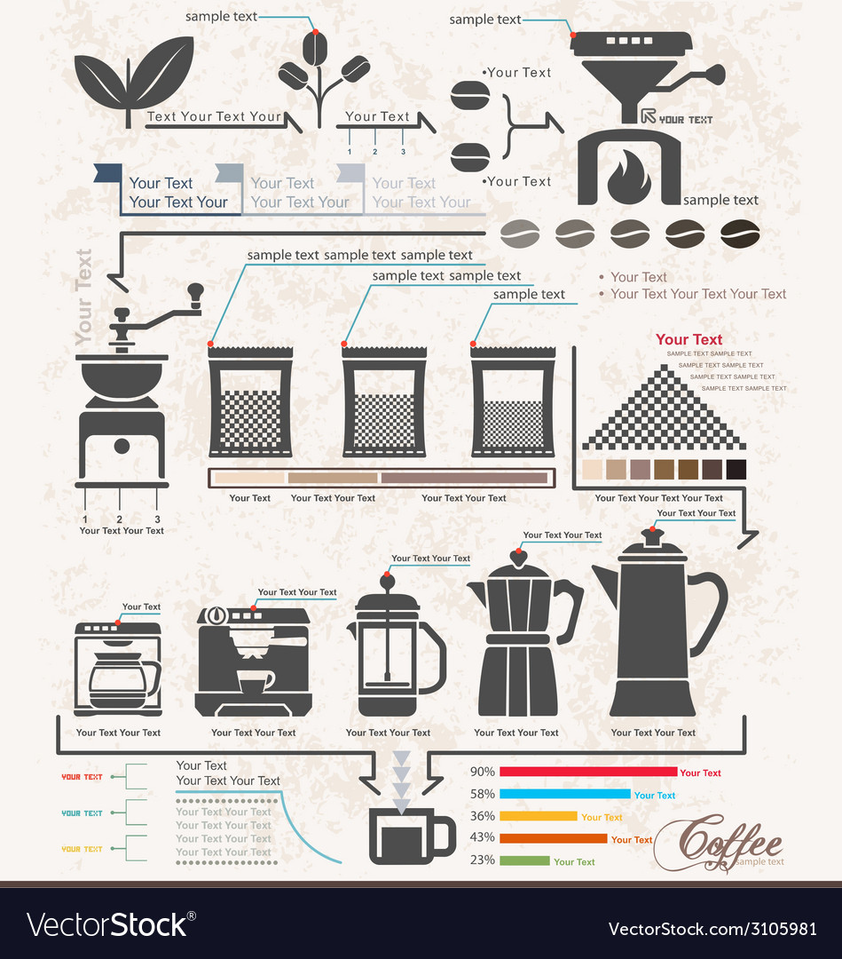 Coffee maker infographic elements steps vector | Price: 3 Credit (USD $3)