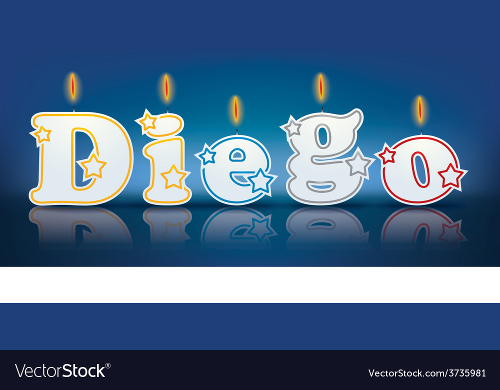 Diego written with burning candles vector   Price: 1 Credit (USD $1)