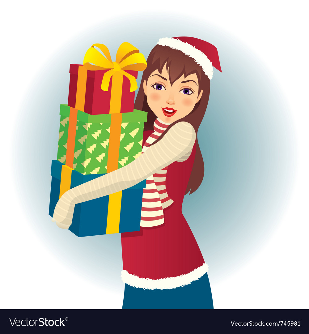 Girl in santa hat with gifts in hand vector | Price: 3 Credit (USD $3)