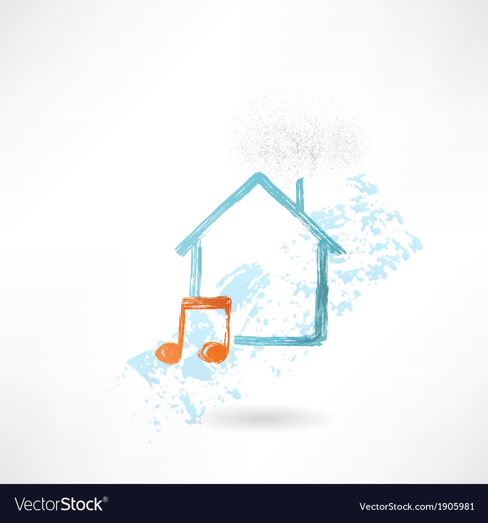 House music grunge icon vector | Price: 1 Credit (USD $1)