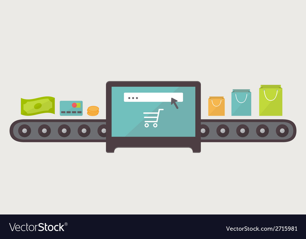Money to purchases internet shopping  flat design vector | Price: 1 Credit (USD $1)