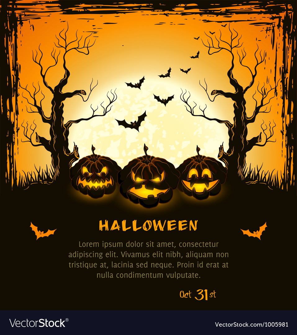 Orange grungy halloween background vector | Price: 1 Credit (USD $1)