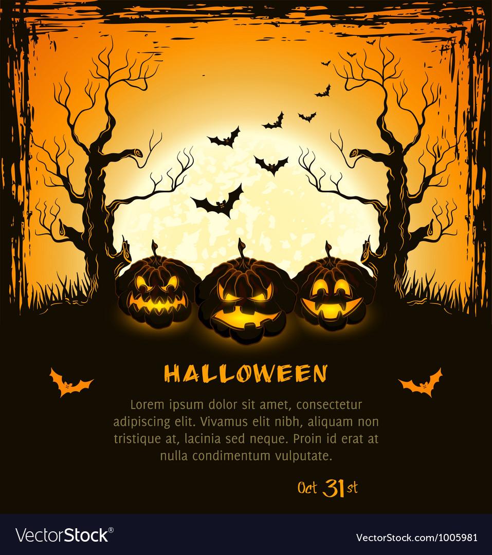 Orange grungy halloween background vector | Price: 1 Credit (USD $1)