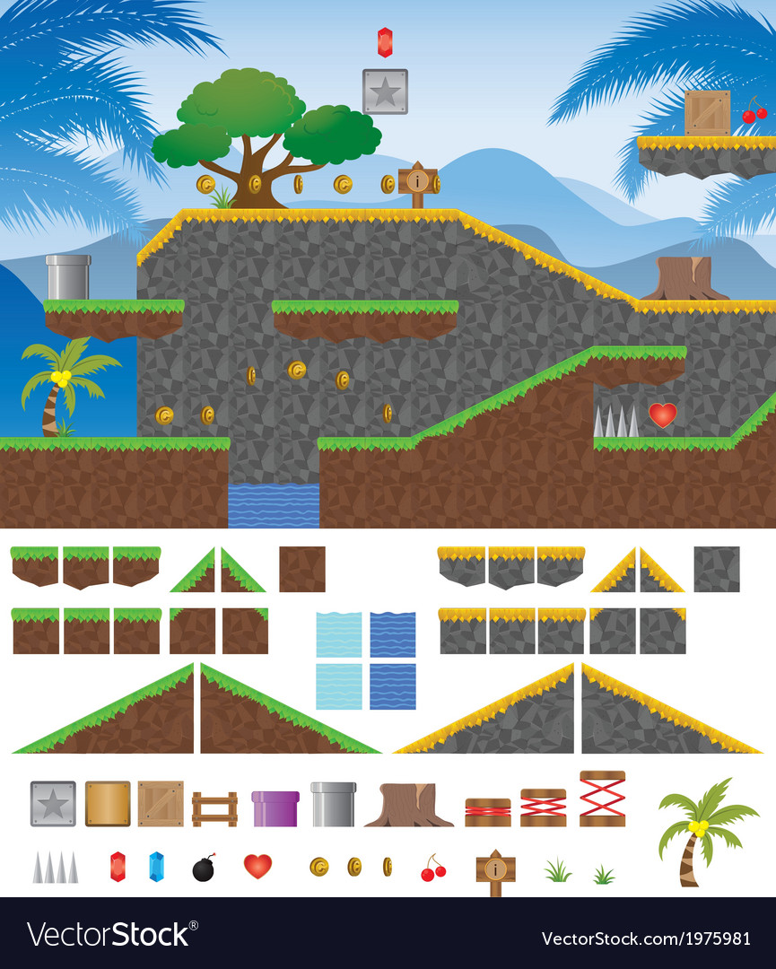 Platform game tropical vector | Price: 1 Credit (USD $1)