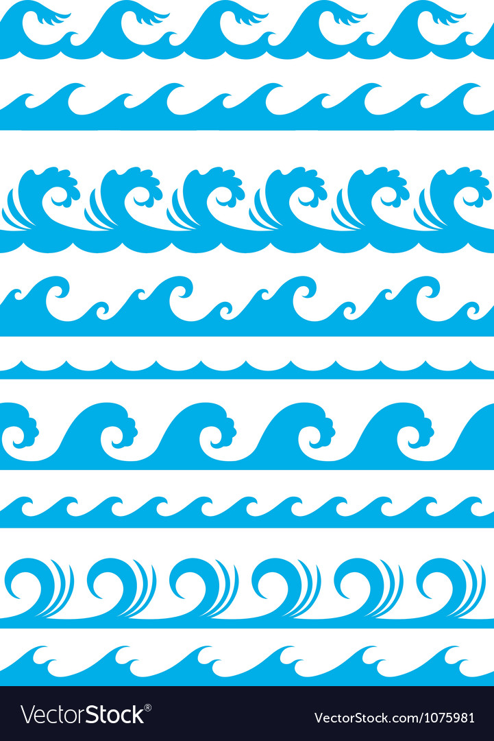 Seamless ocean wave set vector | Price: 1 Credit (USD $1)