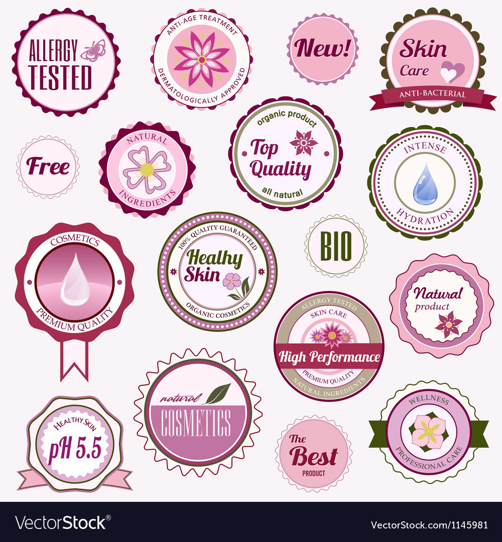 Set of cosmetic badges labels and stickers vector | Price: 1 Credit (USD $1)