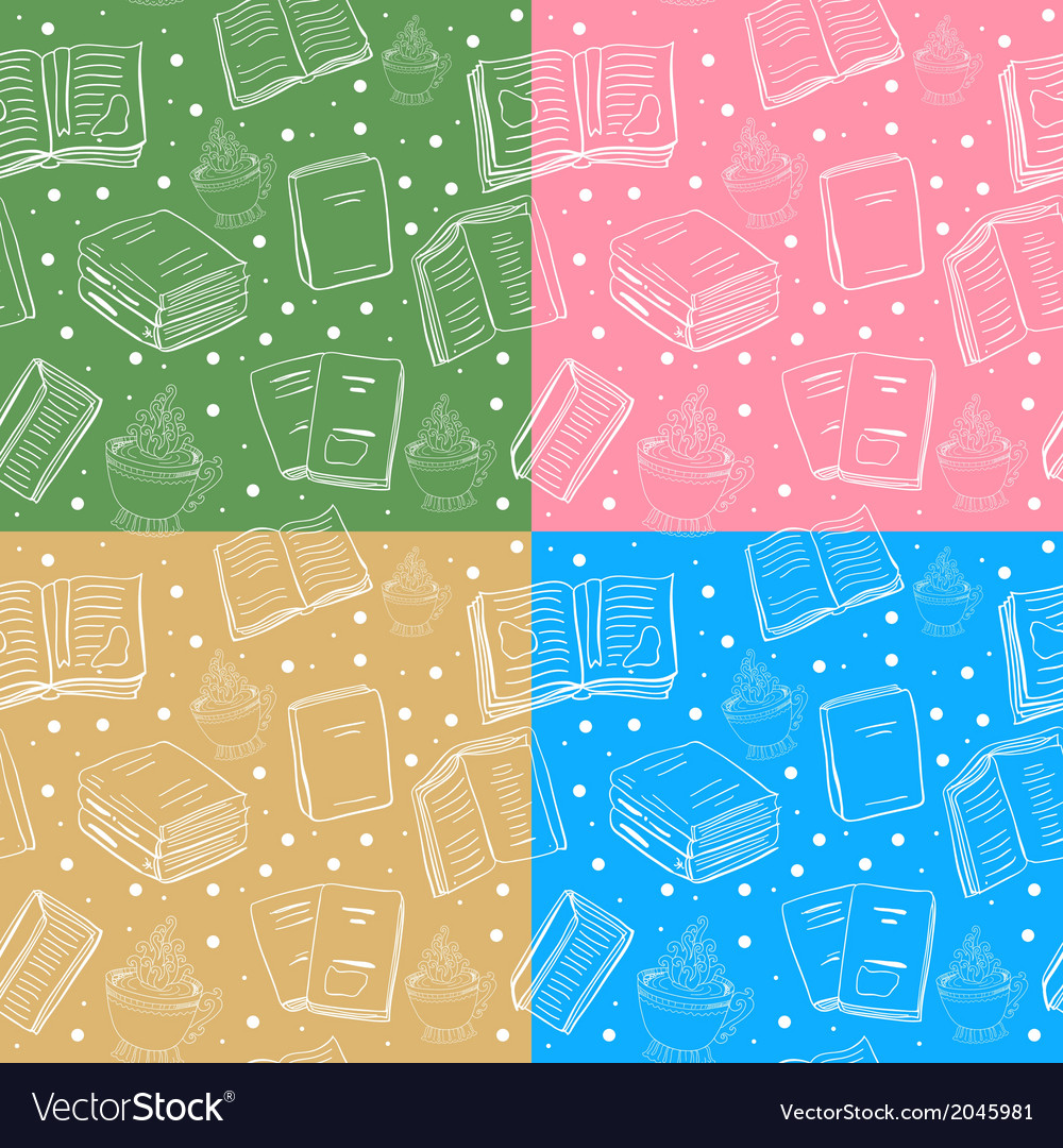 Set of seamless book and tea backgrounds vector | Price: 1 Credit (USD $1)