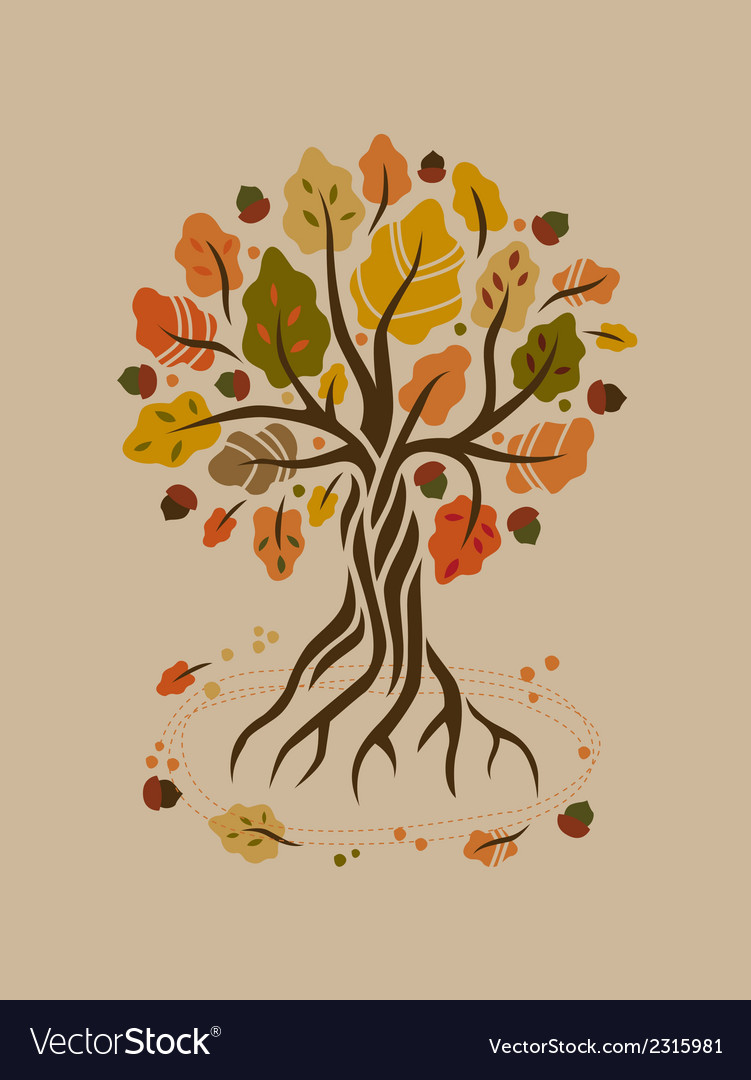 Stylized autumn oak vector | Price: 1 Credit (USD $1)