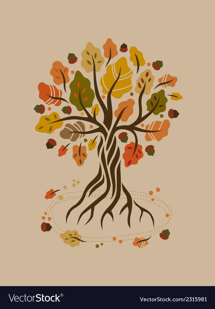 Stylized autumn oak vector | Price: 1 Credit (USD $1)