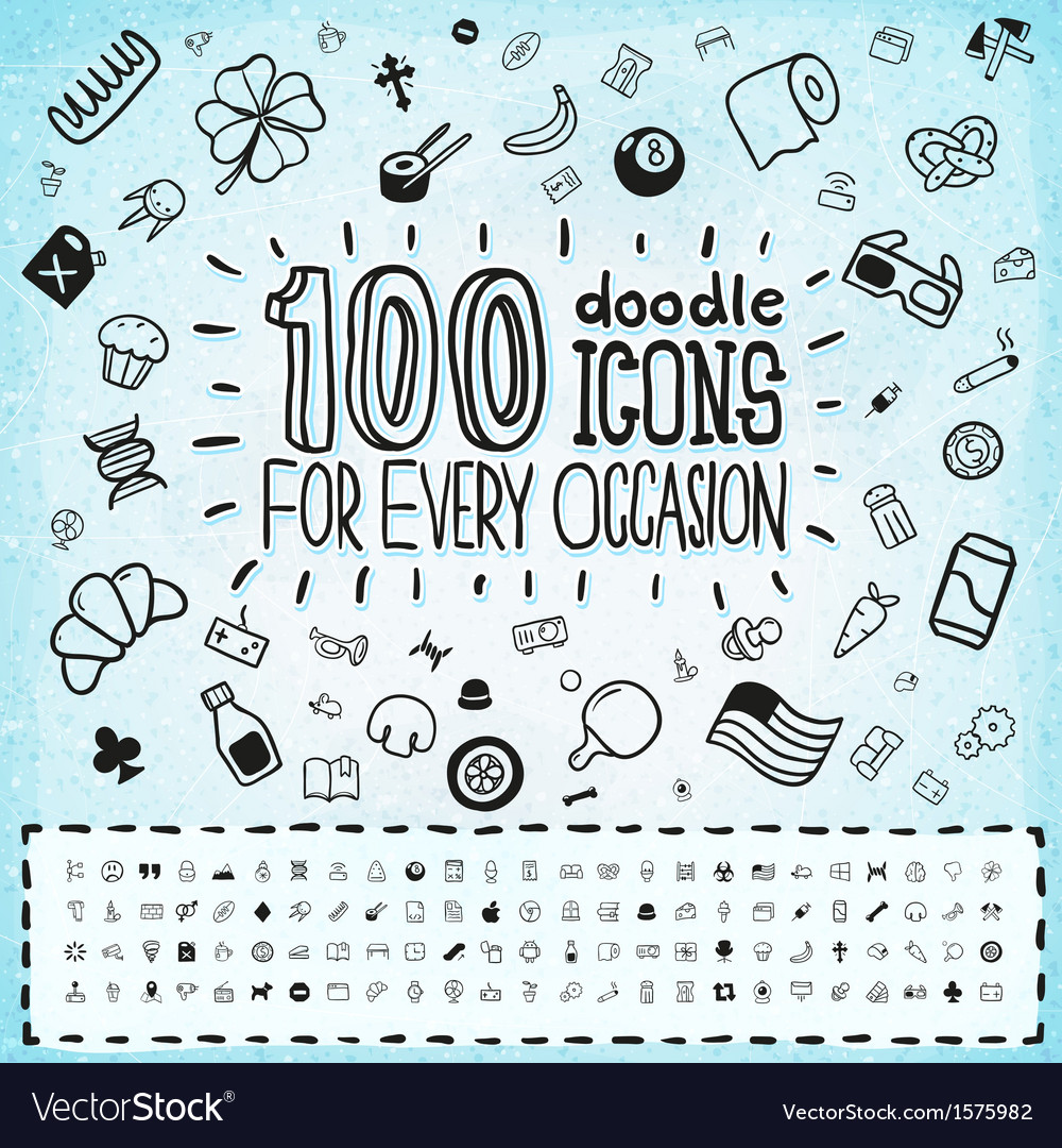 100 doodle icons universal set vector | Price: 1 Credit (USD $1)