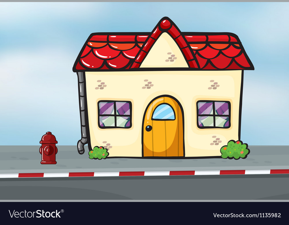A small house near the street vector | Price: 1 Credit (USD $1)