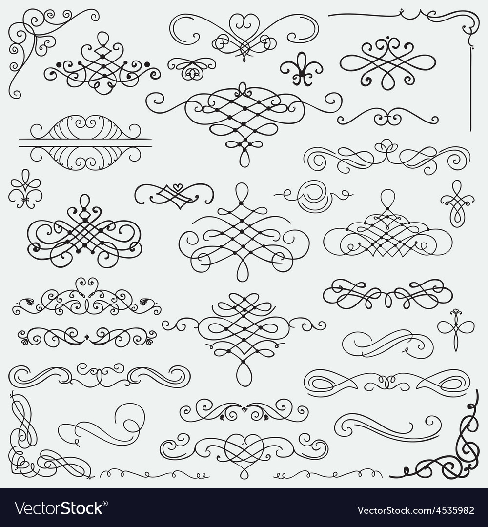 Black vintage hand drawn swirls collection vector | Price: 1 Credit (USD $1)