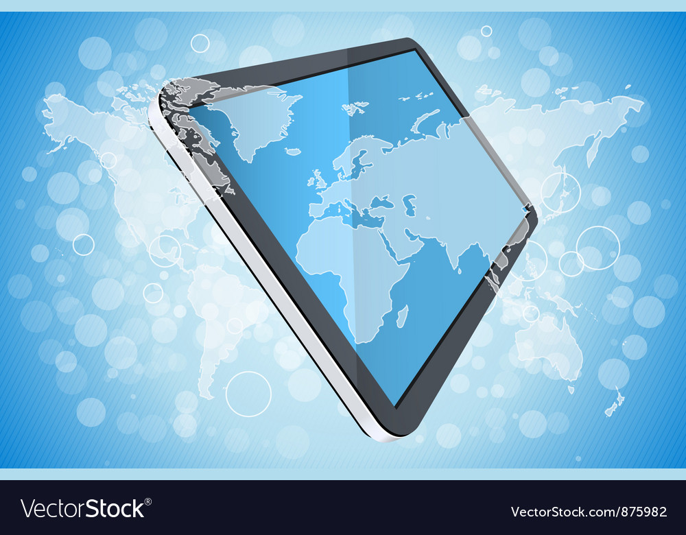 Blue background with world map and tablet computer vector | Price: 1 Credit (USD $1)