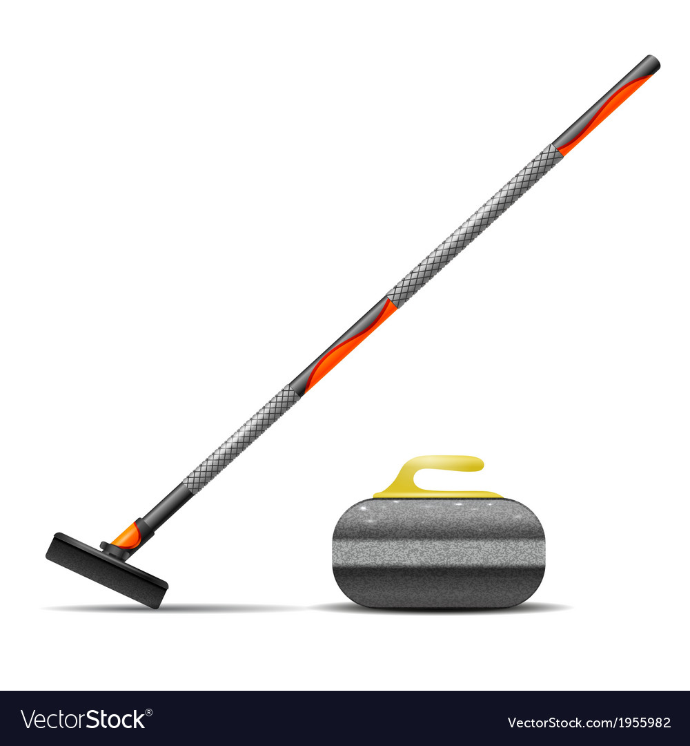 Broom and stone for curling vector | Price: 1 Credit (USD $1)