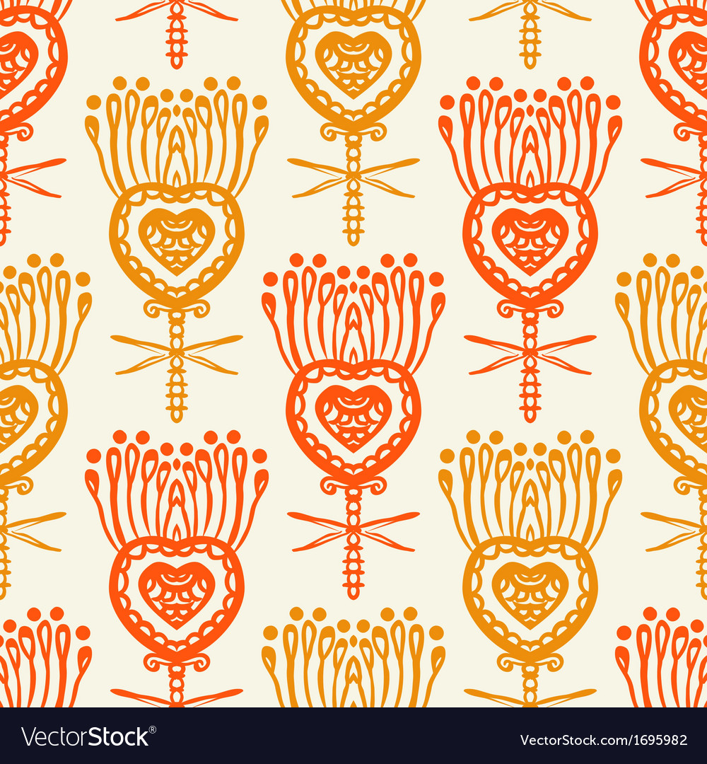 Floral pattern with ethnic indian motifs vector | Price: 1 Credit (USD $1)