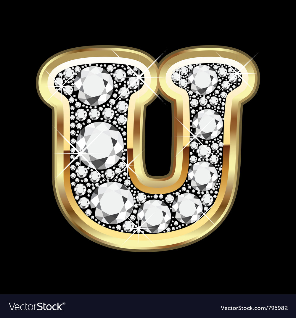 Letter u gold and diamond vector | Price: 1 Credit (USD $1)