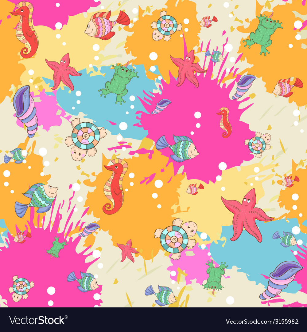 Pattern sea life on the blots ink background vector | Price: 1 Credit (USD $1)