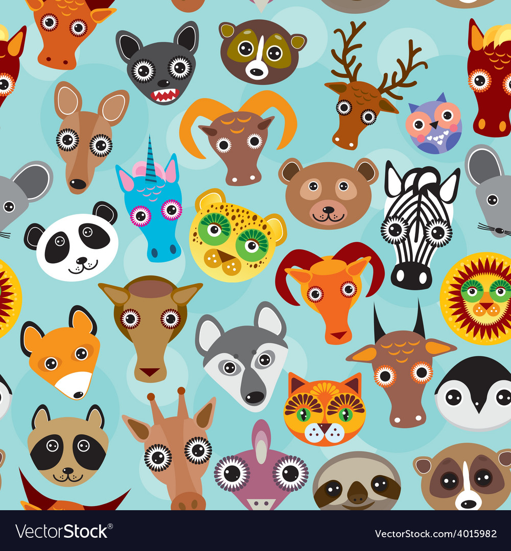 Seamless pattern cute face funny animals on blue vector | Price: 1 Credit (USD $1)