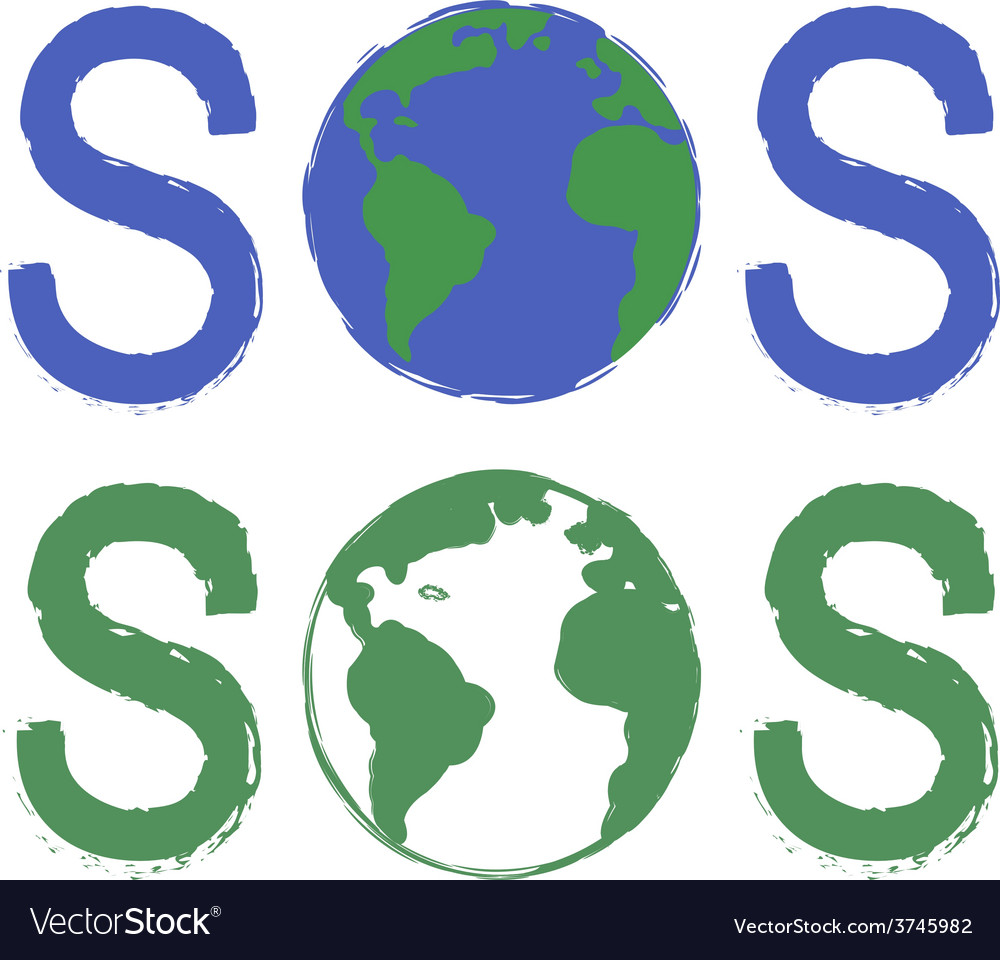 Sos scratch grunge graffiti print sign with planet vector | Price: 1 Credit (USD $1)