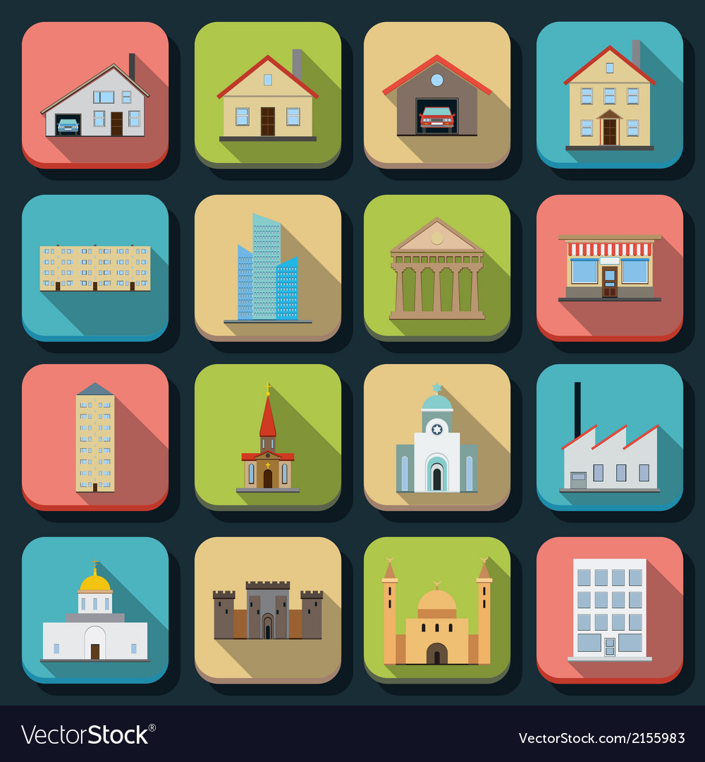 Buildings flat icons vector | Price: 1 Credit (USD $1)